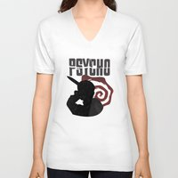 psycho V-neck T-shirts featuring Psycho by Vickn