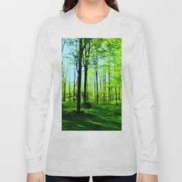 Sky Blue Morning Forest Long Sleeve T-shirt