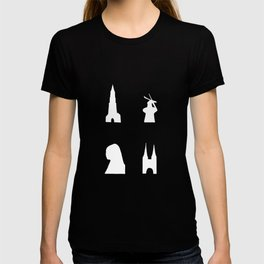 Delft silhouette on green T-shirt