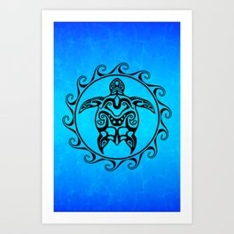 f45e2a7d7fbae Black Tribal Turtle In Maori Sun Symbol Art Print
