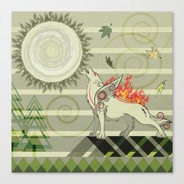 A wolf on fire Amaterasu Canvas Print