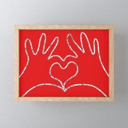 Silver Hands in Love Framed Mini Art Print