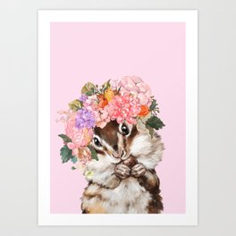 Baby Squirrel with Flowers Crown in Pink Art Print