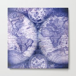 World Map Antique Vintage Navy Blue Metal Print