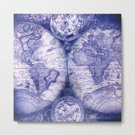 World Map Antique Vintage Navy Blue Metal Print