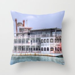 New Orleans Paddle Steamer Throw Pillow