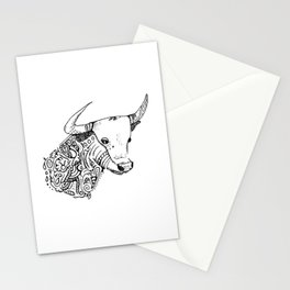TAURUS - bull - zodiac doodle series abstract Stationery Cards