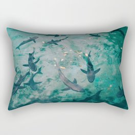 Shoal of Sharks (Color) Rectangular Pillow