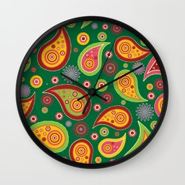 Oriental Persian Paisley - Green Yellow Red Wall Clock