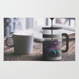 French Press Planets Surreal Photography Rug