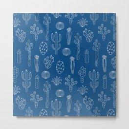 Cactus Silhouette Classic Blue Metal Print