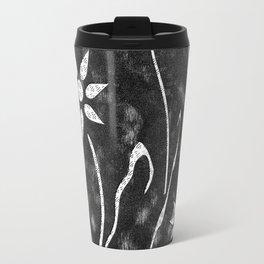 Black and White Abstract Flower Garden Travel Mug