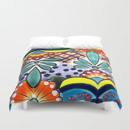 Colorful Talavera, Yellow Accent, Large, Mexican Tile Design Duvet Cover