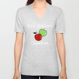 Apple T Shirt Halloween Fall Apple Bobbing Champion Unisex V-Neck