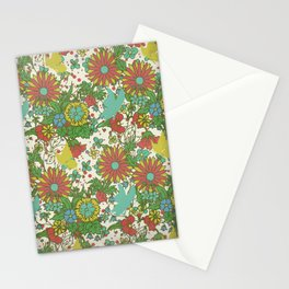 Garden Charm 10:  vintage retro butterfly shabby pattern yellow and blue Stationery Cards
