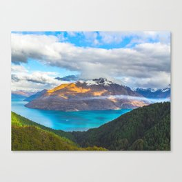 Beautiful Mountain Range Landscape Photo Blue Turquoise Waters Green Pine Trees Grey Clouds Canvas Print