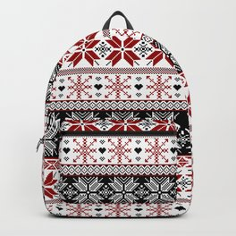 Winter Fair Isle Pattern Backpack