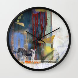 Abstract Mixed Media Compositon V.WTF 150 Maybe Wall Clock