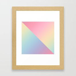 Geometric abstract rainbow gradient Framed Art Print