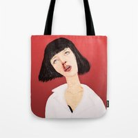 mia wallace Tote Bags featuring Mrs Mia Wallace by Wakkala