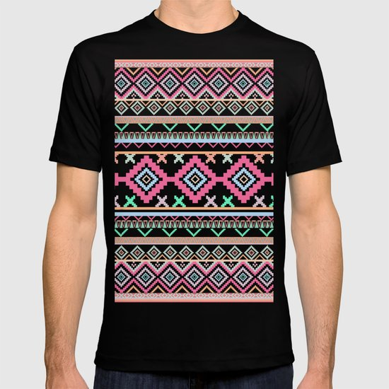 Pink teal Aztec Tribal Diamond geometric Pattern T-shirt