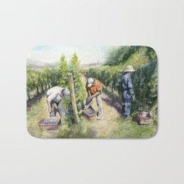 Vineyard Watercolor Landscape Wine Grapes Nature Bath Mat