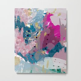 8: a bright abstract in blues pinks and golds Metal Print