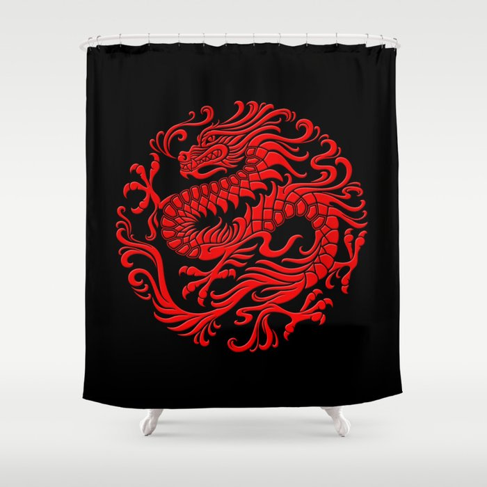 Traditional Red Chinese Dragon Circle Shower Curtain