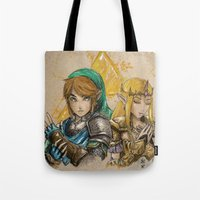 hyrule Tote Bags featuring Hyrule Warriors by AdamScythe