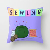 sewing Throw Pillows featuring Sewing by Grace Isabel