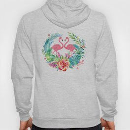 Tropical Wreath & Flamingos Hoody