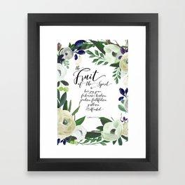 Fruit of the Spirit, navy, ivory, green floral palette Framed Art Print