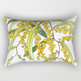 Australian Wattle Flower, Illustration Rectangular Pillow