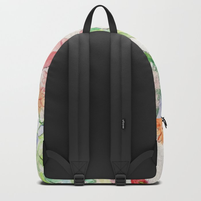 White Cat in a Garden Backpack