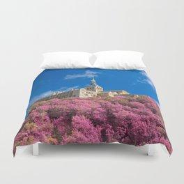Mont Saint-Michel Abbey - Pink Fantasy Duvet Cover