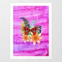 Butterfly with Passion Flower Art Print