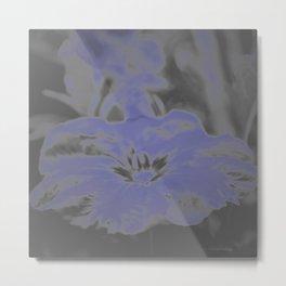 Bloom in Neon Blue Metal Print