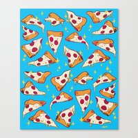 pizza Canvas Prints featuring pizza by Erin Lowe