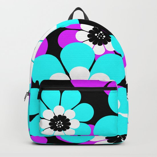 The floral pattern . Purple and turquoise flowers on a black background . Backpack