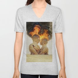 Sculpture on fire digital oil painting Unisex V-Neck