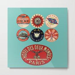 vintage luggage tags red aqua Metal Print