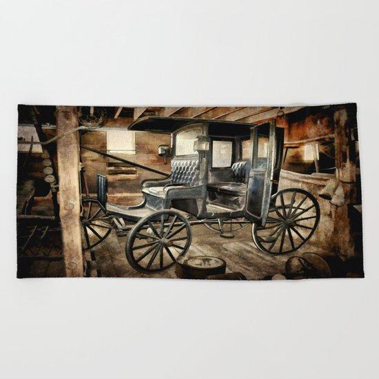 Vintage Horse Drawn Carriage Beach Towel