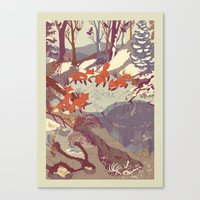 white Canvas Prints featuring Fisher Fox by Teagan White