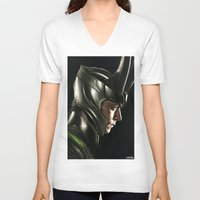 loki V-neck T-shirts featuring Loki by Hilary Rodzik