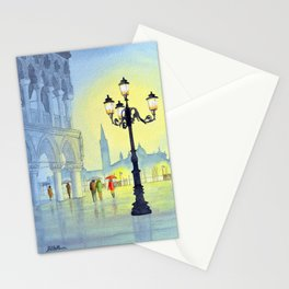 Rainy Evening In St Marks Square Venice Stationery Cards