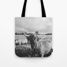Black and White Highland Cow - Moo Tote Bag
