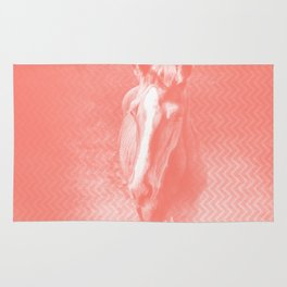 Abstract horse in misty peach Rug