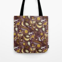 potter Tote Bags featuring Potter Paisley by Kate Moore