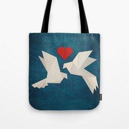 Origami Lovebirds Tote Bag
