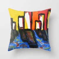 depression Throw Pillows featuring Depression Begins by Greg Mason Burns